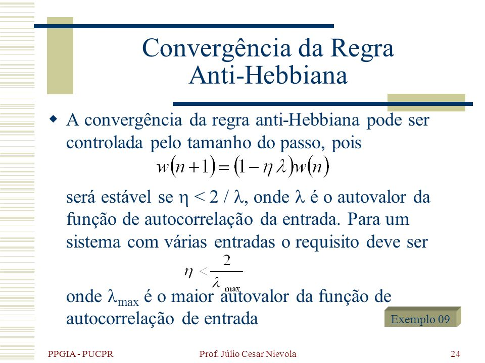 Convergência da Regra Anti-Hebbiana