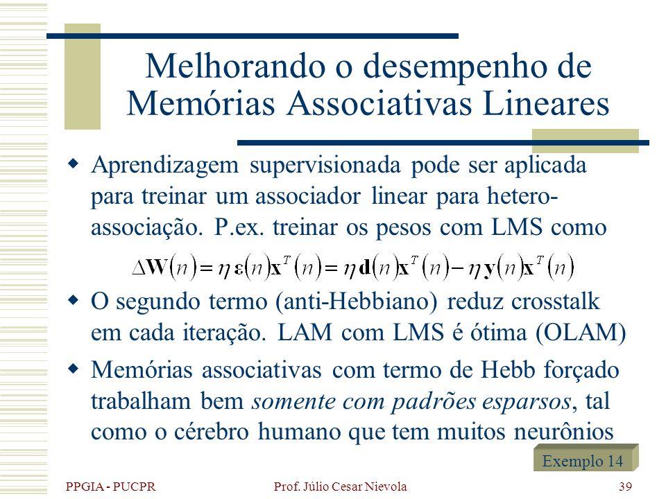 Melhorando o desempenho de Memórias Associativas Lineares