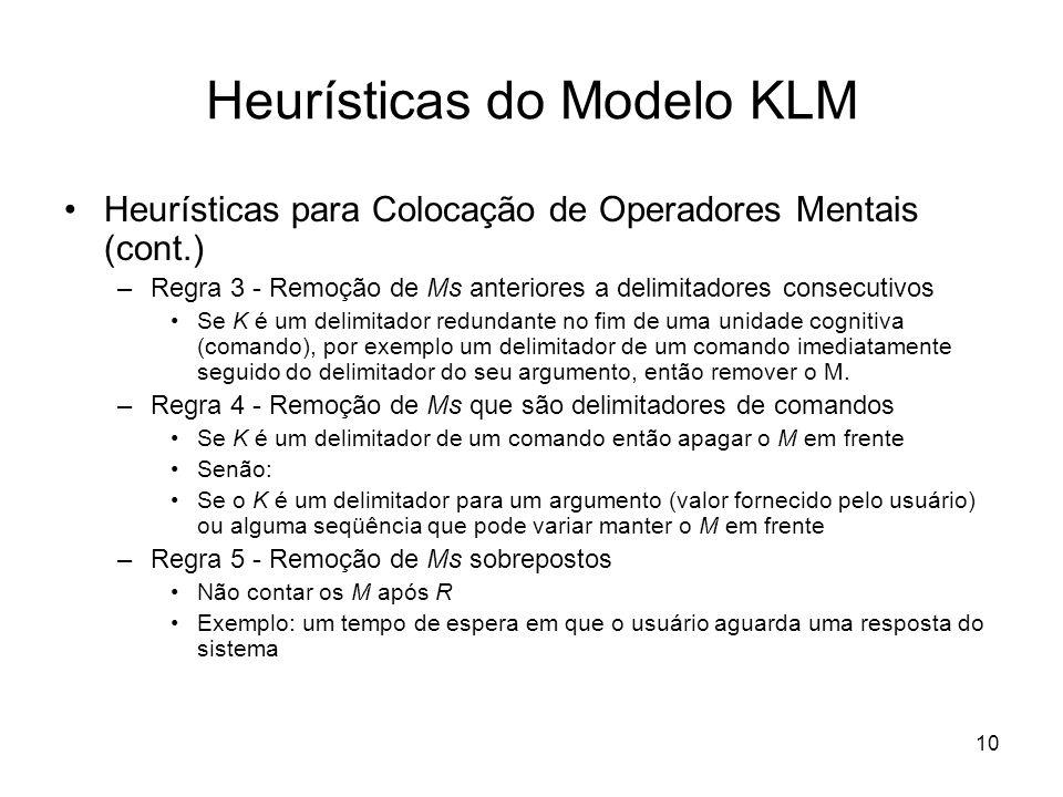 Heurísticas do Modelo KLM