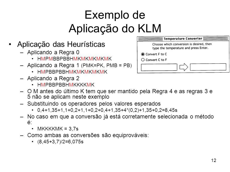 Exemplo de Aplicação do KLM