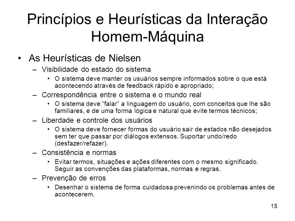 Princípios e Heurísticas da Interação Homem-Máquina