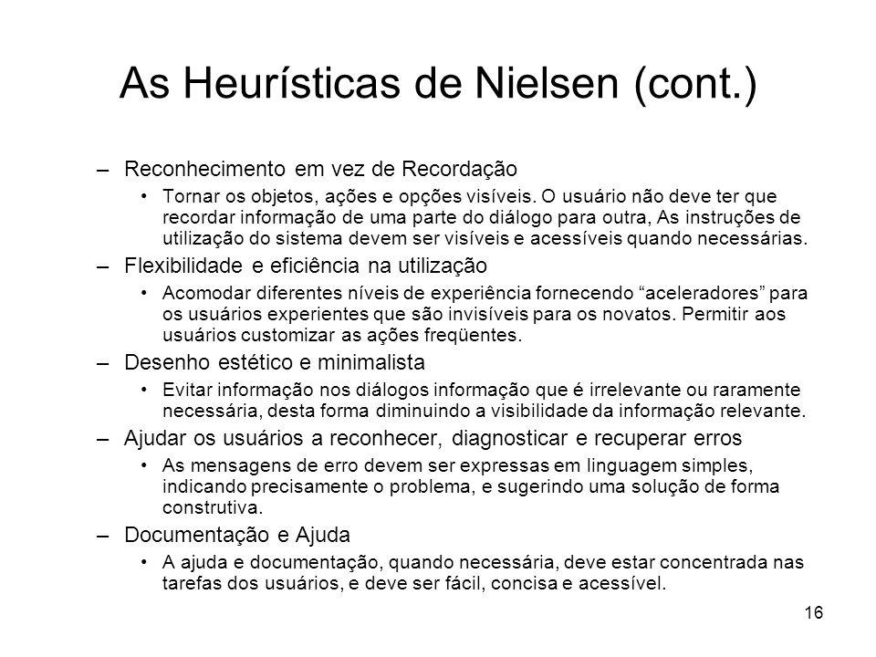 As Heurísticas de Nielsen (cont.)