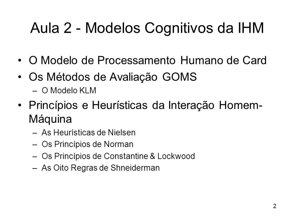 Aula 2 - Modelos Cognitivos da IHM