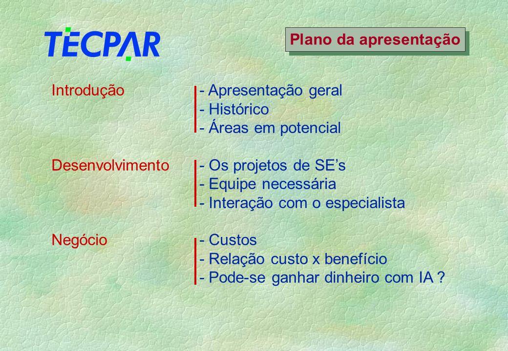 Plano da apresentação Introdução - Apresentação geral. - Histórico. - Áreas em potencial. Desenvolvimento - Os projetos de SE's.