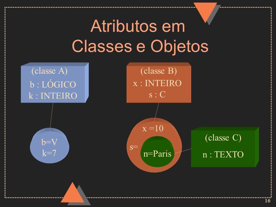 Atributos em Classes e Objetos