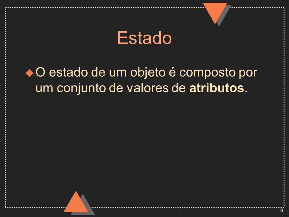 Estado O estado de um objeto é composto por um conjunto de valores de atributos.