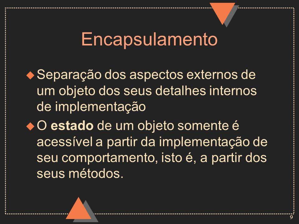 EncapsulamentoSeparação dos aspectos externos de um objeto dos seus detalhes internos de implementação.