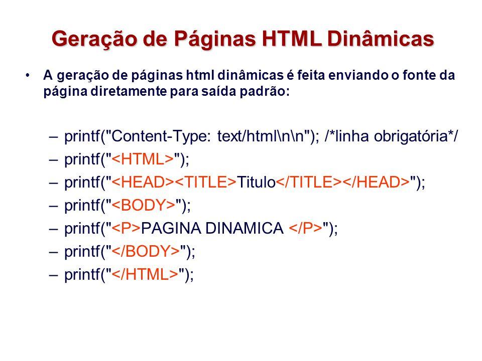 Geração de Páginas HTML Dinâmicas