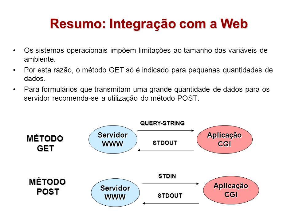 Resumo: Integração com a Web