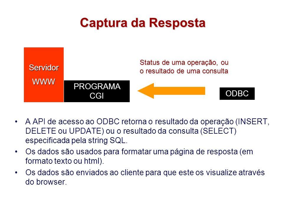 Captura da Resposta Servidor WWW PROGRAMA CGI ODBC