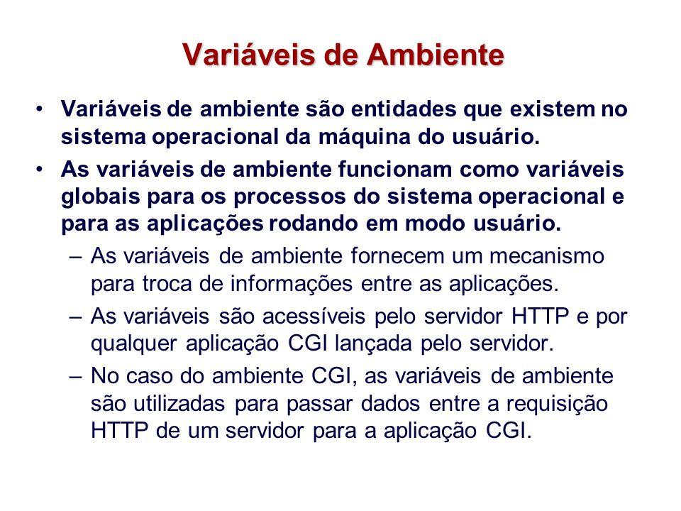 Variáveis de Ambiente Variáveis de ambiente são entidades que existem no sistema operacional da máquina do usuário.