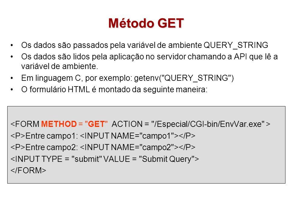 Método GET Os dados são passados pela variável de ambiente QUERY_STRING.