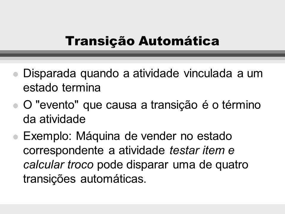 Transição AutomáticaDisparada quando a atividade vinculada a um estado termina. O evento que causa a transição é o término da atividade.