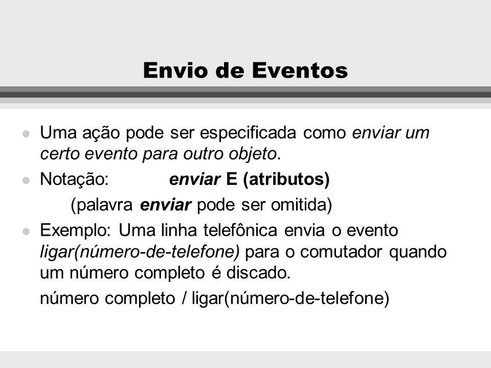 Envio de Eventos Uma ação pode ser especificada como enviar um certo evento para outro objeto. Notação: enviar E (atributos)