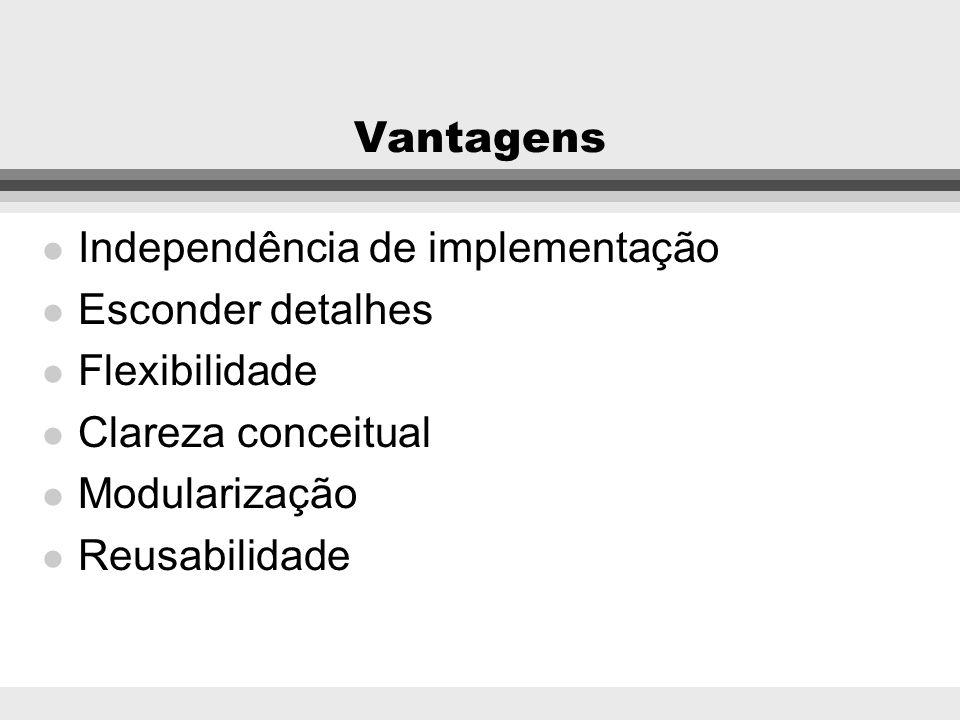 Vantagens Independência de implementação. Esconder detalhes. Flexibilidade. Clareza conceitual. Modularização.