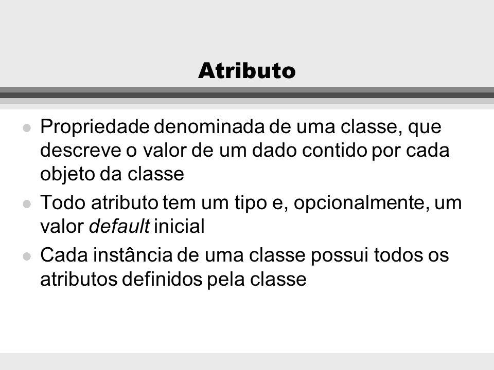 Atributo Propriedade denominada de uma classe, que descreve o valor de um dado contido por cada objeto da classe.