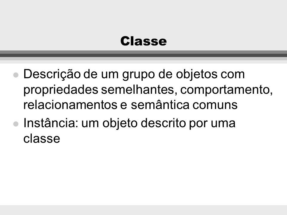 ClasseDescrição de um grupo de objetos com propriedades semelhantes, comportamento, relacionamentos e semântica comuns.