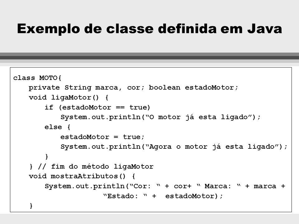 Exemplo de classe definida em Java