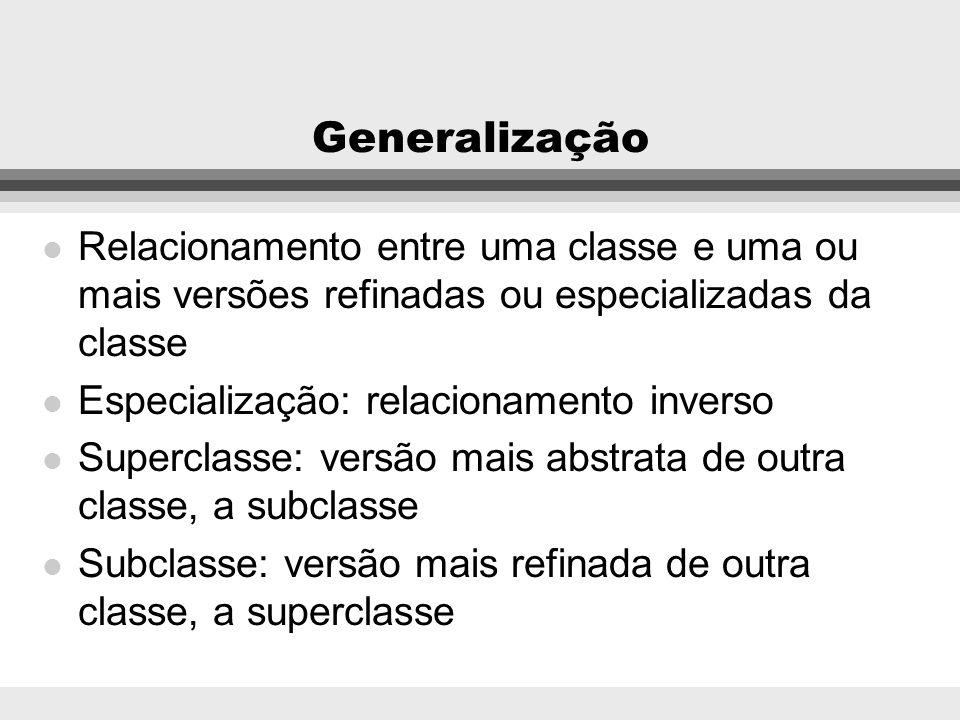 GeneralizaçãoRelacionamento entre uma classe e uma ou mais versões refinadas ou especializadas da classe.