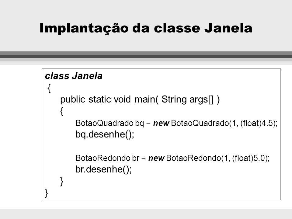 Implantação da classe Janela
