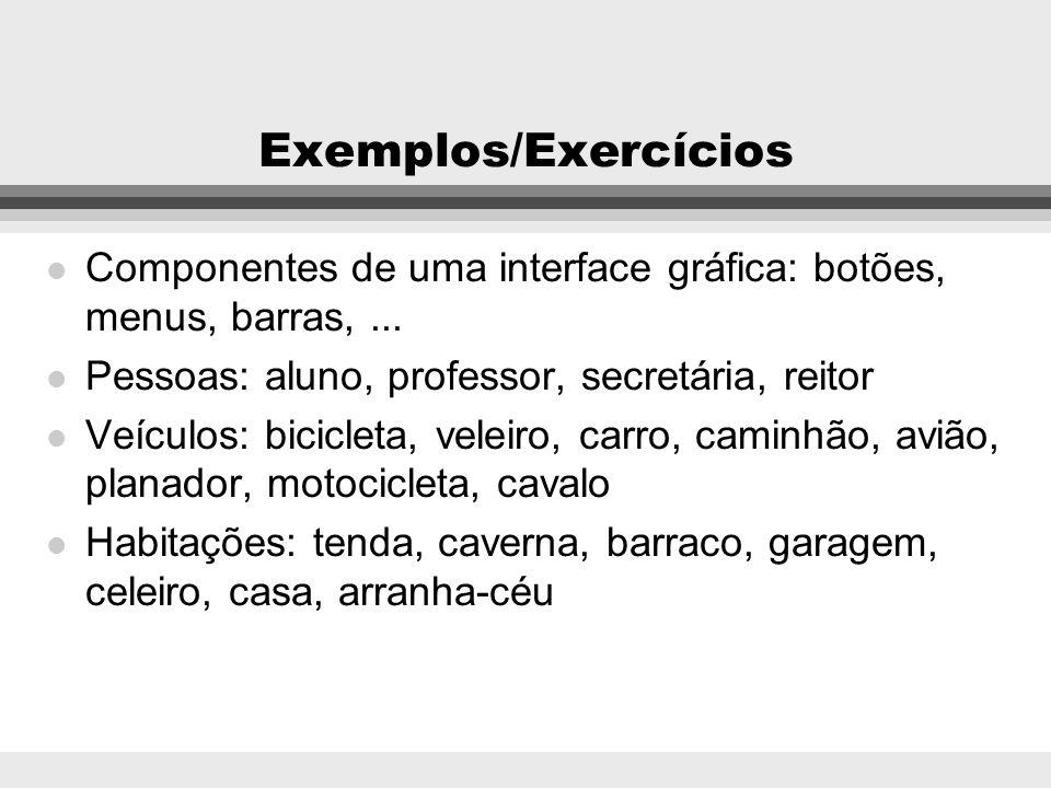 Exemplos/ExercíciosComponentes de uma interface gráfica: botões, menus, barras, ... Pessoas: aluno, professor, secretária, reitor.