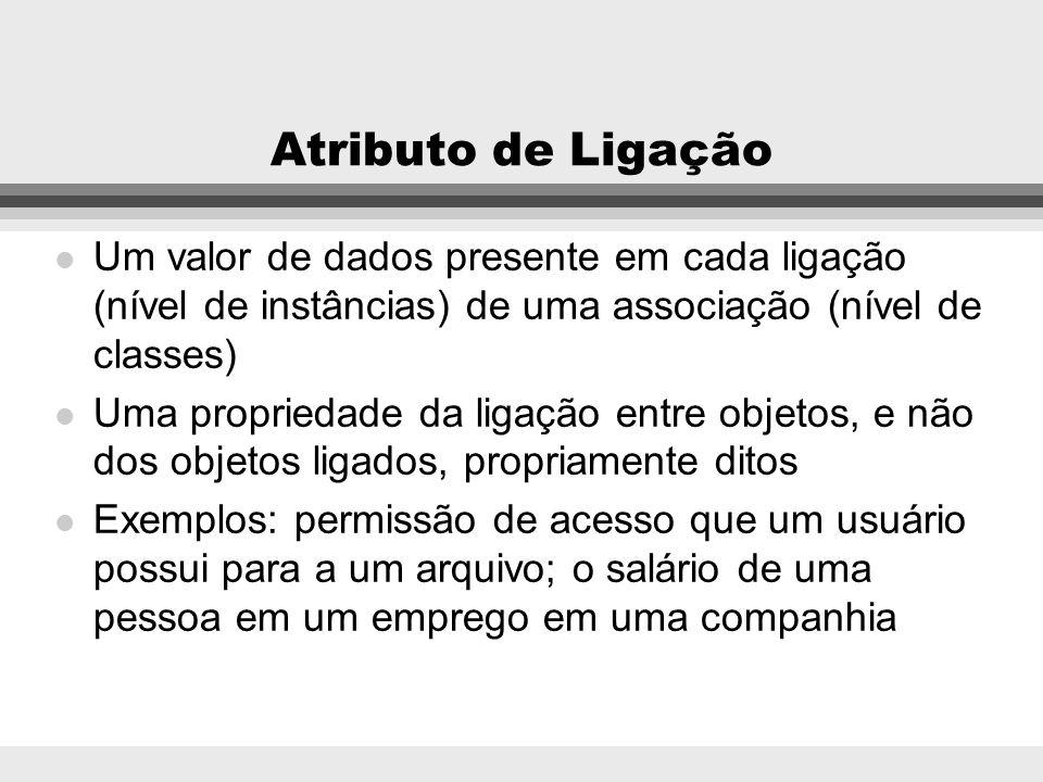 Atributo de Ligação Um valor de dados presente em cada ligação (nível de instâncias) de uma associação (nível de classes)