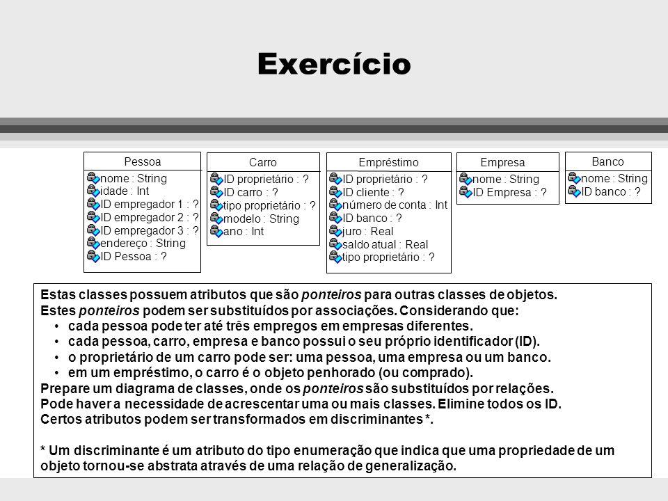 Exercício Pessoa. nome : String. idade : Int. ID empregador 1 : ID empregador 2 : ID empregador 3 :