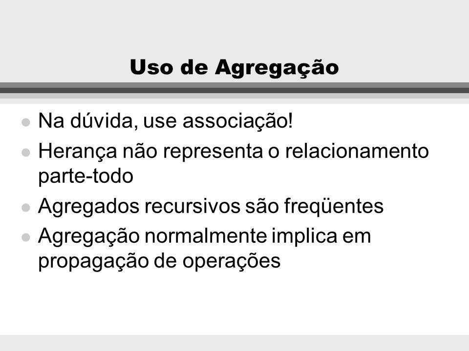 Uso de Agregação Na dúvida, use associação! Herança não representa o relacionamento parte-todo. Agregados recursivos são freqüentes.