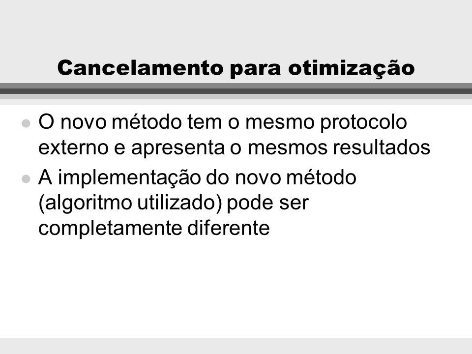 Cancelamento para otimização