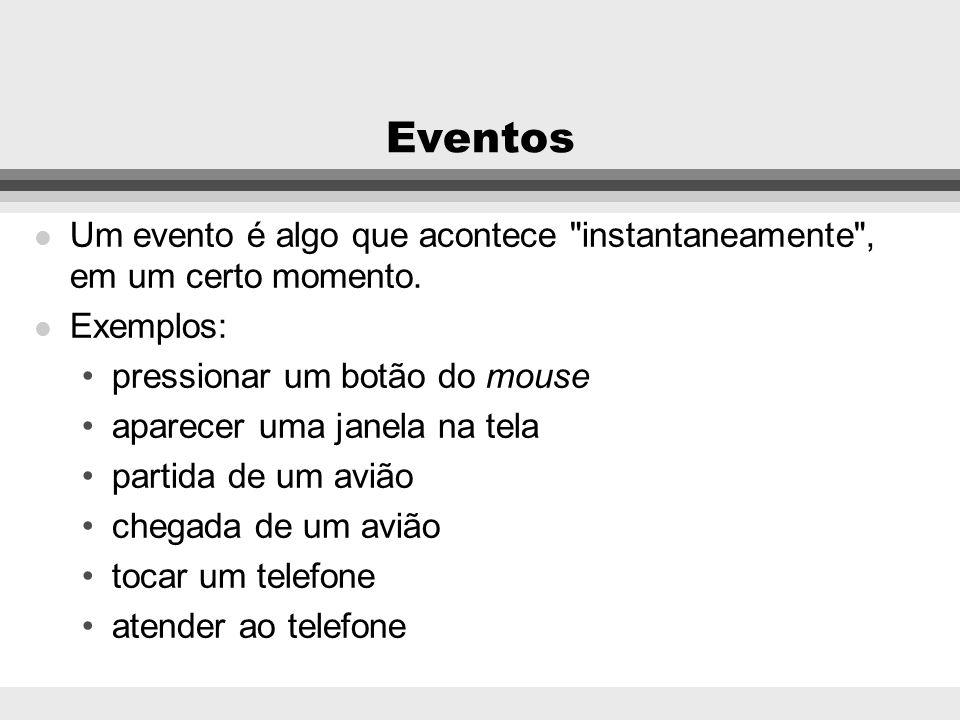 EventosUm evento é algo que acontece instantaneamente , em um certo momento. Exemplos: pressionar um botão do mouse.