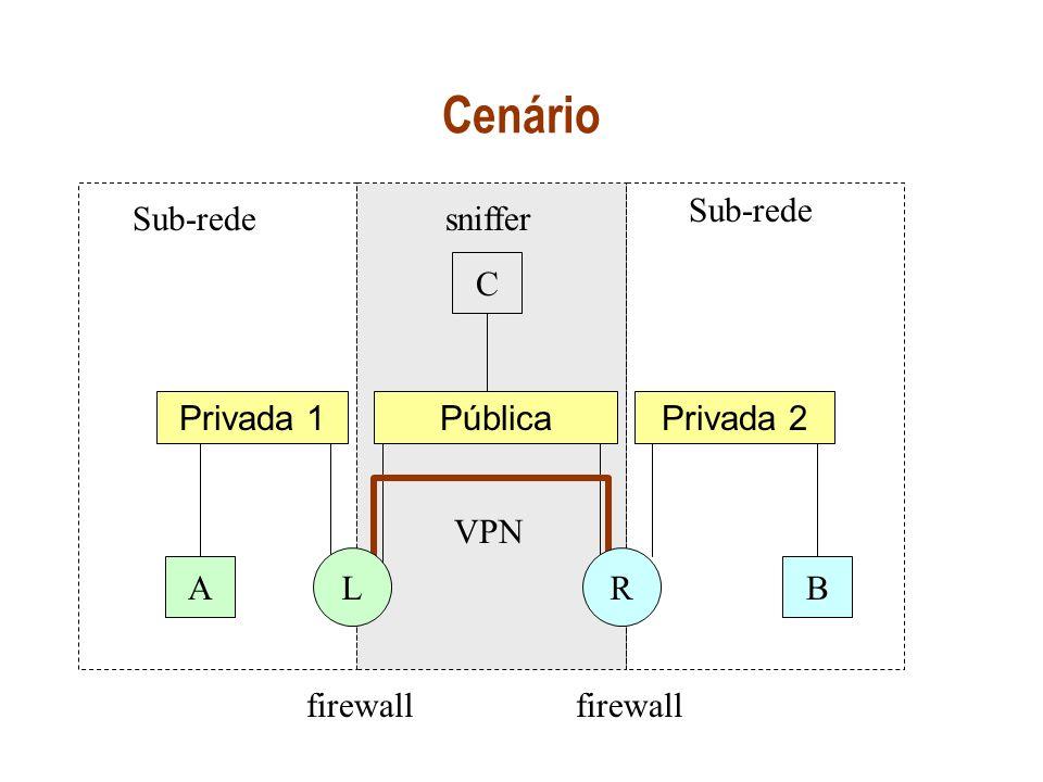 Cenário Sub-rede Sub-rede sniffer C Privada 1 Pública Privada 2 VPN L