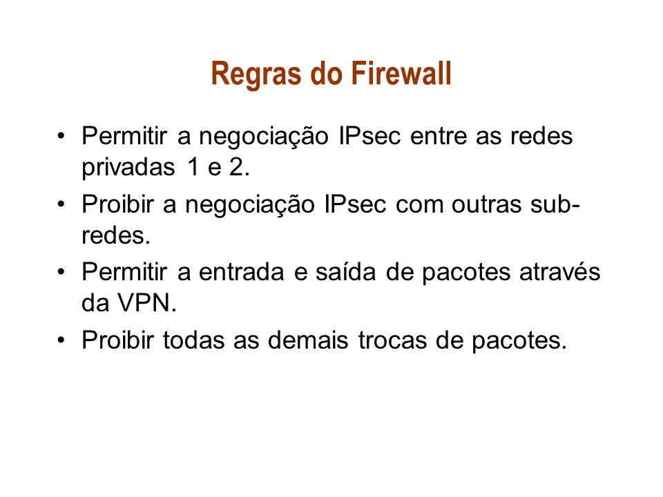 Regras do Firewall Permitir a negociação IPsec entre as redes privadas 1 e 2. Proibir a negociação IPsec com outras sub-redes.