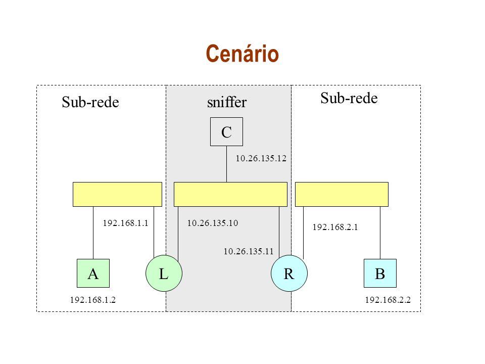 Cenário Sub-rede Sub-rede sniffer C L R A B 10.26.135.12 192.168.1.1