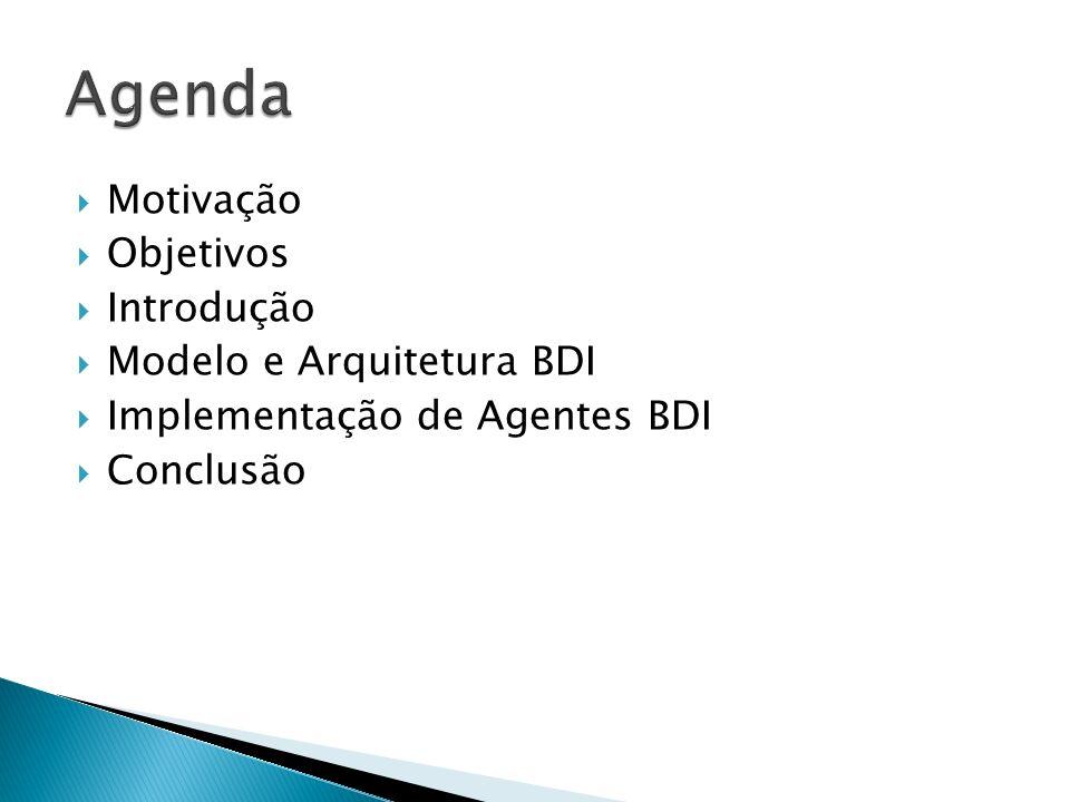 Agenda Motivação Objetivos Introdução Modelo e Arquitetura BDI
