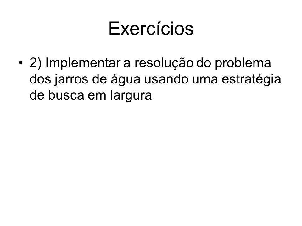 Exercícios 2) Implementar a resolução do problema dos jarros de água usando uma estratégia de busca em largura.