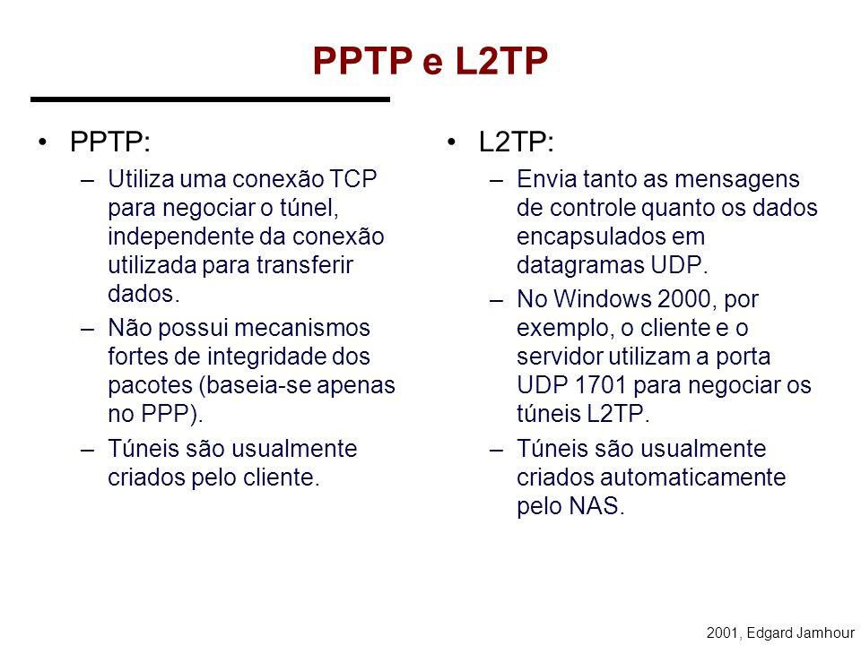 PPTP e L2TP PPTP: Utiliza uma conexão TCP para negociar o túnel, independente da conexão utilizada para transferir dados.