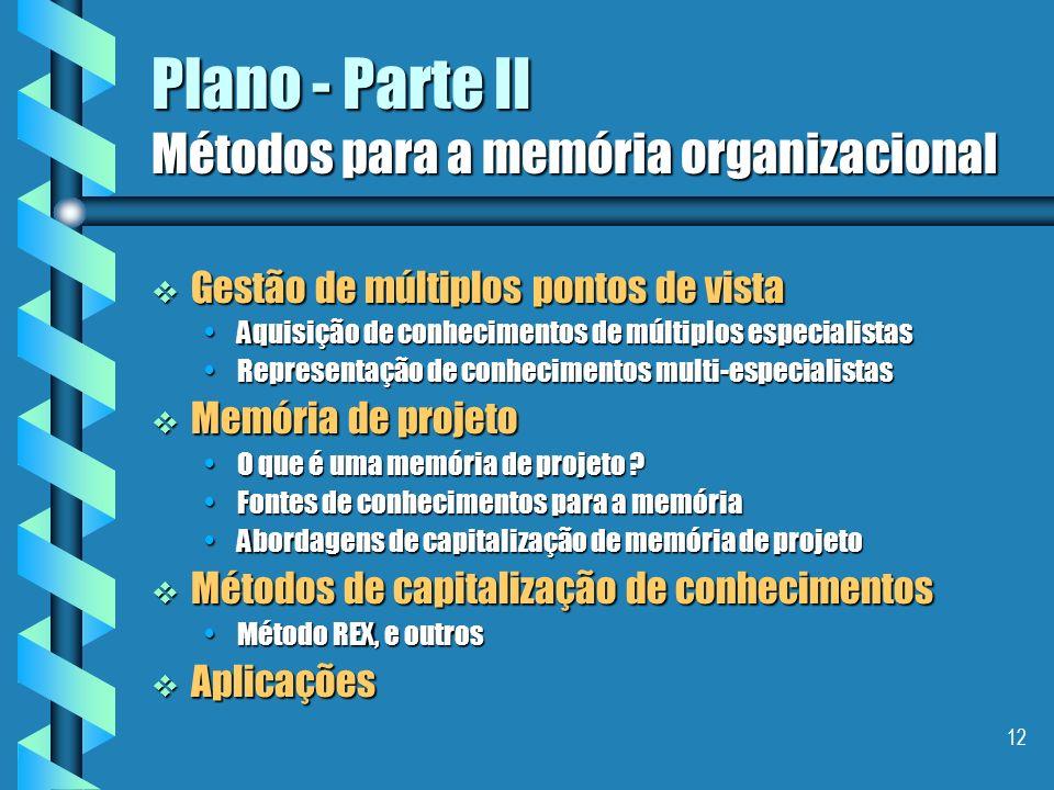 Plano - Parte II Métodos para a memória organizacional