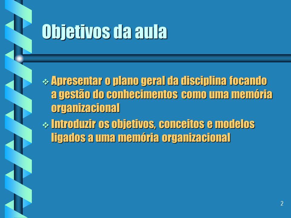 Objetivos da aula Apresentar o plano geral da disciplina focando a gestão do conhecimentos como uma memória organizacional.