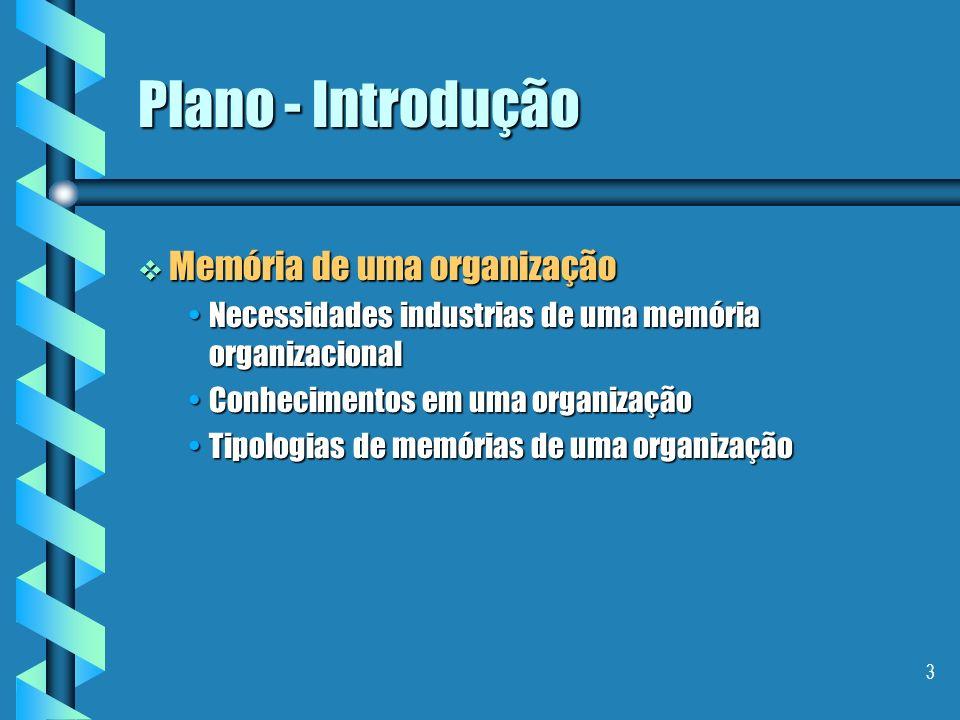 Plano - Introdução Memória de uma organização
