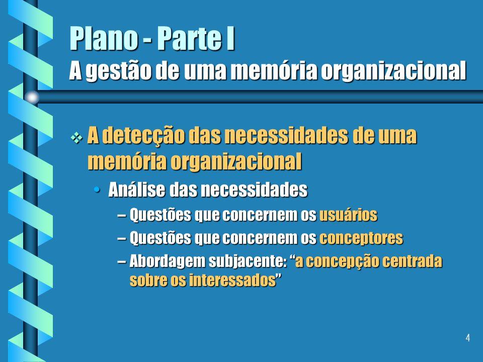 Plano - Parte I A gestão de uma memória organizacional