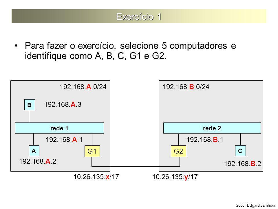 Exercício 1 Para fazer o exercício, selecione 5 computadores e identifique como A, B, C, G1 e G2. 192.168.A.0/24.