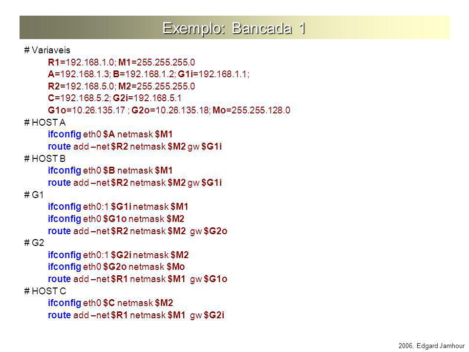 Exemplo: Bancada 1 # Variaveis R1=192.168.1.0; M1=255.255.255.0