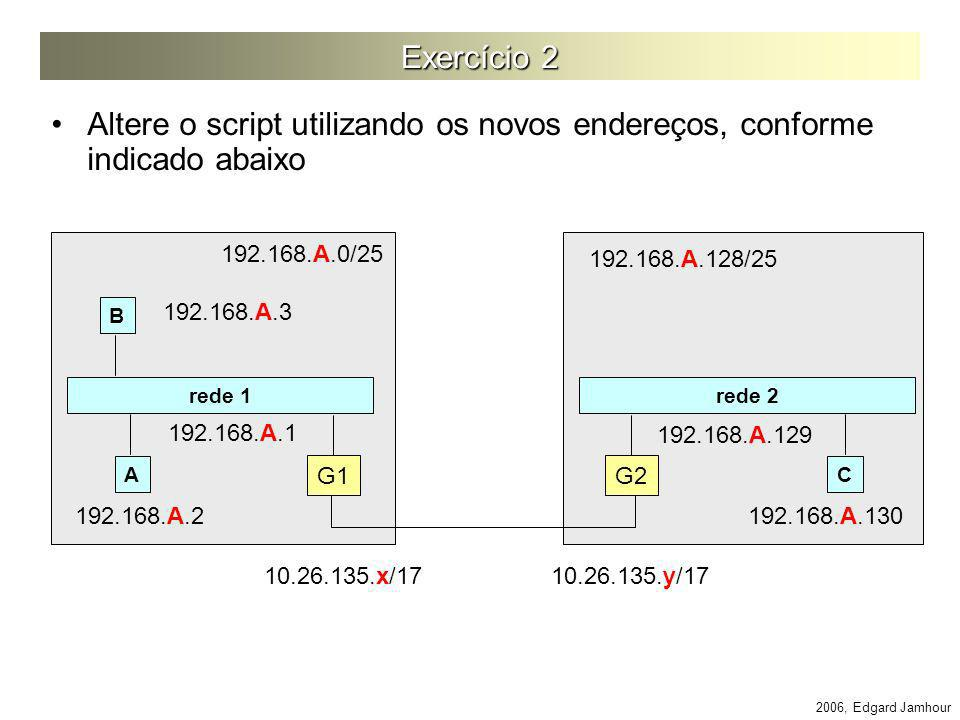 Exercício 2 Altere o script utilizando os novos endereços, conforme indicado abaixo. 192.168.A.0/25.