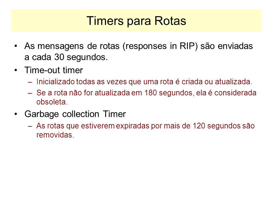Timers para Rotas As mensagens de rotas (responses in RIP) são enviadas a cada 30 segundos. Time-out timer.