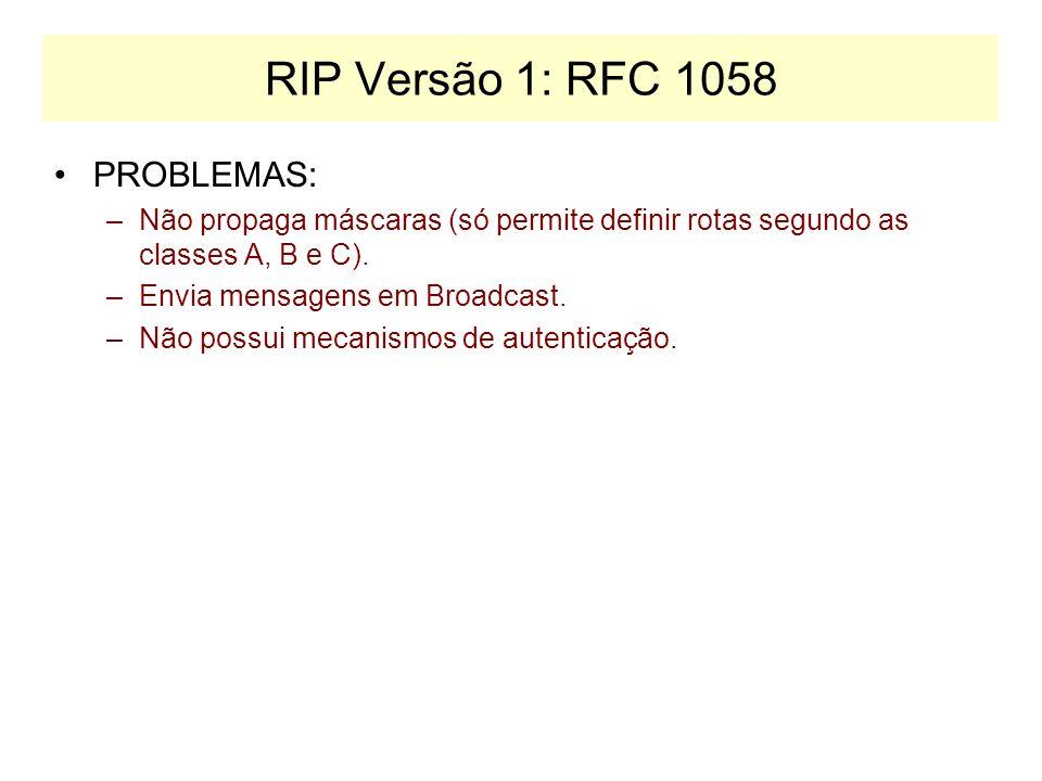 RIP Versão 1: RFC 1058 PROBLEMAS: