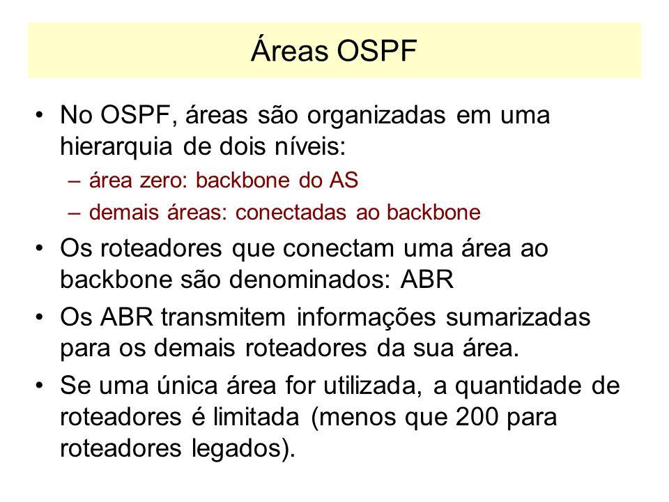 Áreas OSPF No OSPF, áreas são organizadas em uma hierarquia de dois níveis: área zero: backbone do AS.
