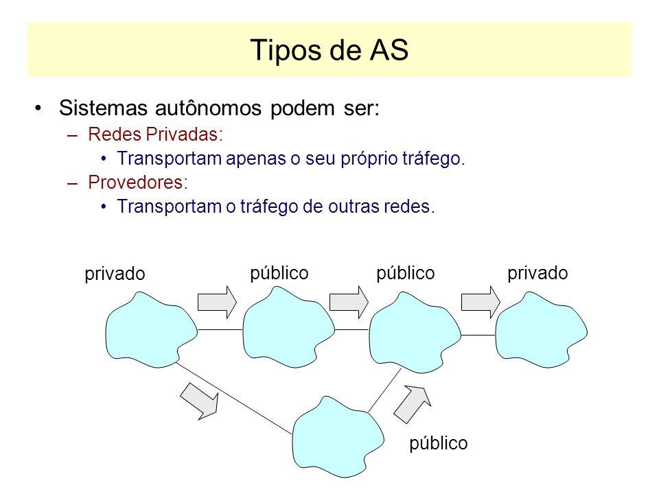 Tipos de AS Sistemas autônomos podem ser: Redes Privadas: