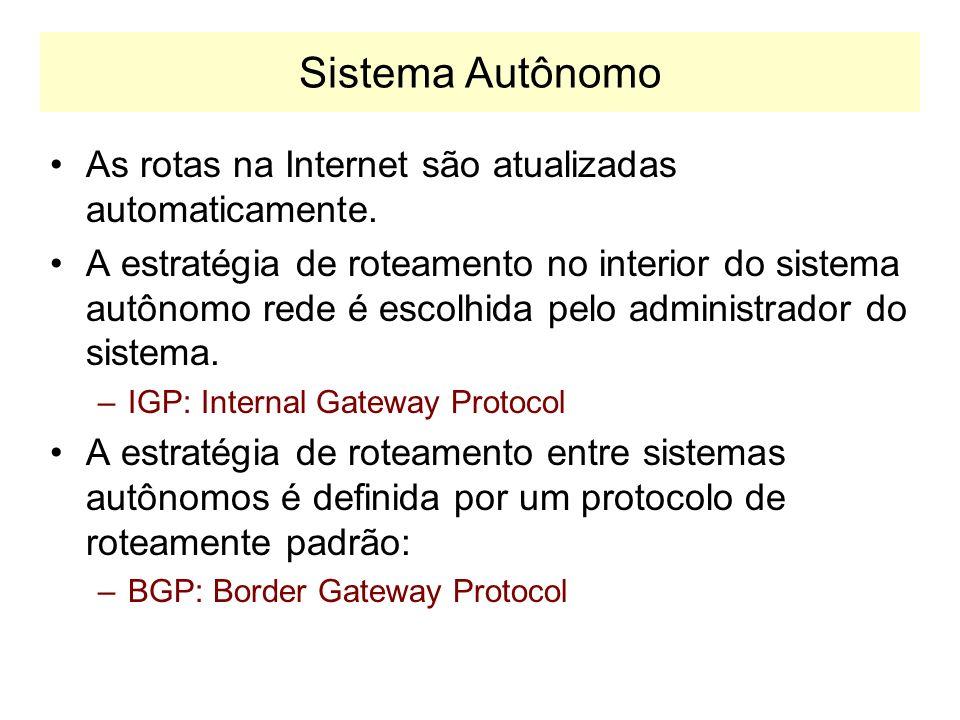 Sistema Autônomo As rotas na Internet são atualizadas automaticamente.