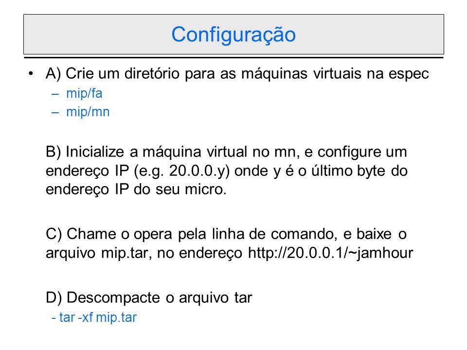 Configuração A) Crie um diretório para as máquinas virtuais na espec