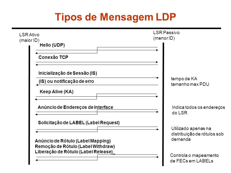 Tipos de Mensagem LDP LSR Passivo (menor ID) LSR Ativo (maior ID)